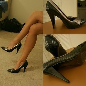 Aldo Black Heels Shoes 6 36 Silver Pumps Dress